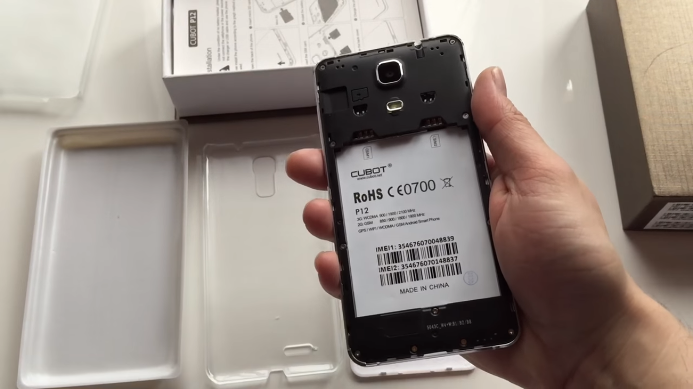 Cubot P12 opened without the battery