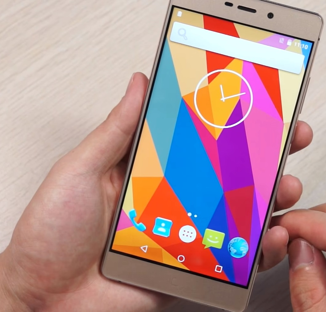 Elephone M3 Rose Gold held in hand, display on, colorful background.