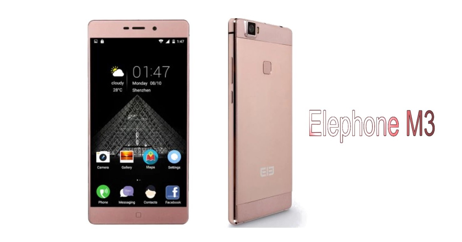 Elephone M3 promo image, fron and back side, rose gold colr.