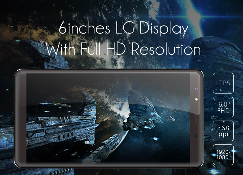 Leagoo Shark 1 Display features explained on a promo poster
