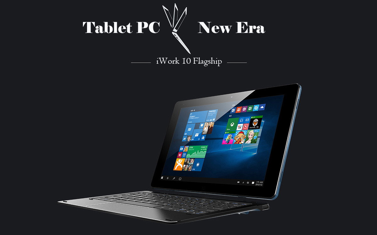 Cube iWork 10 Tablet and keyboard at the dark background.