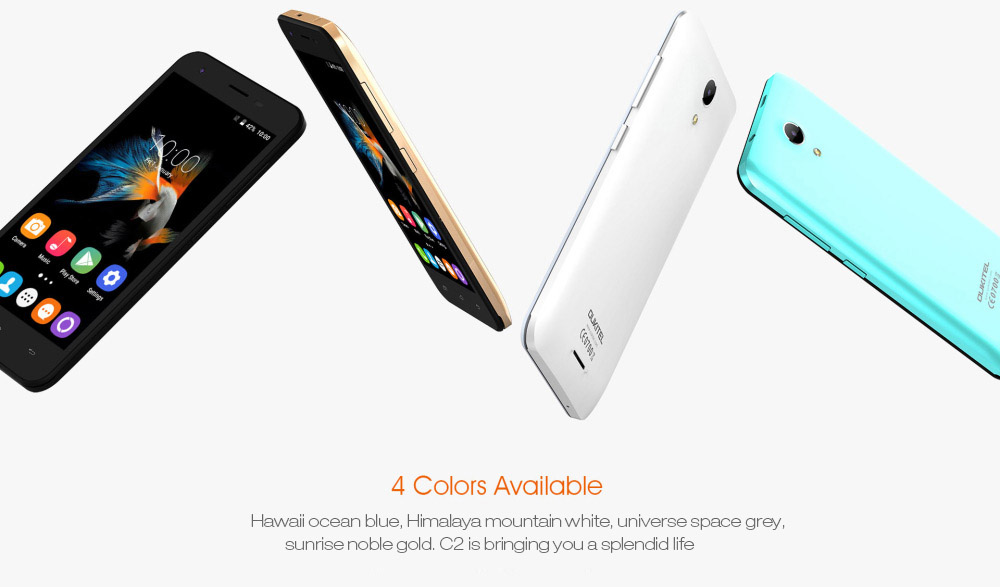 OUKITEL C2 Several phones with different color options on white background.