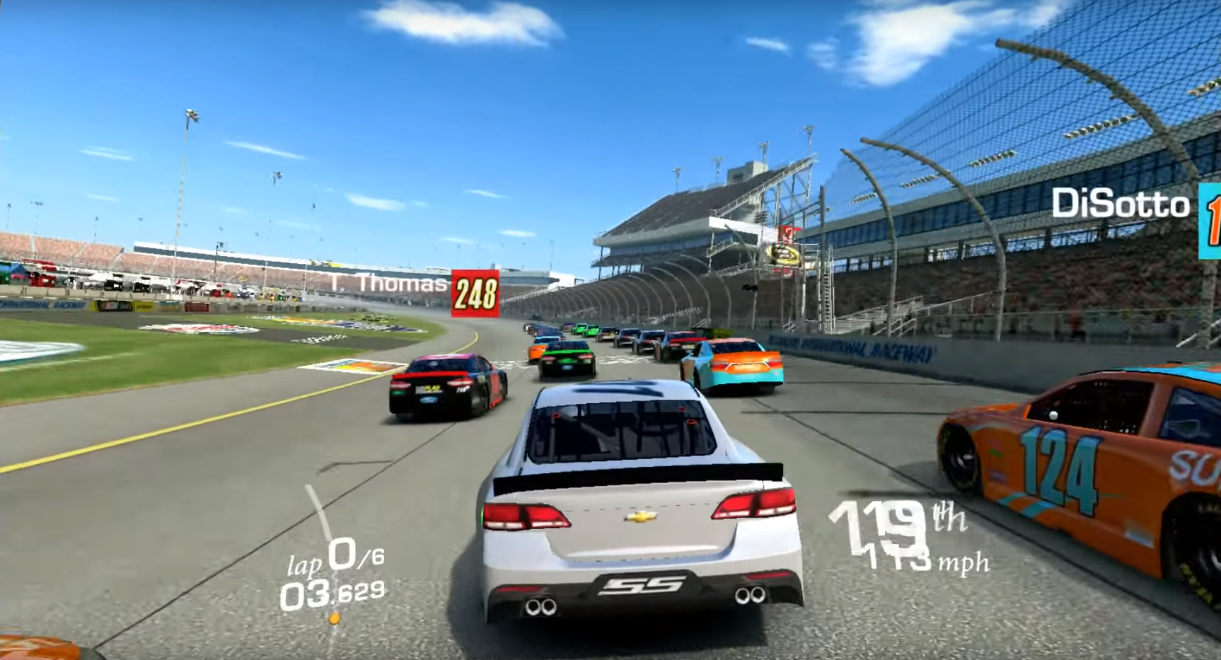 Cube iWork 10 Real racing gameplay, bunch of cars racing on a bright and clear day.
