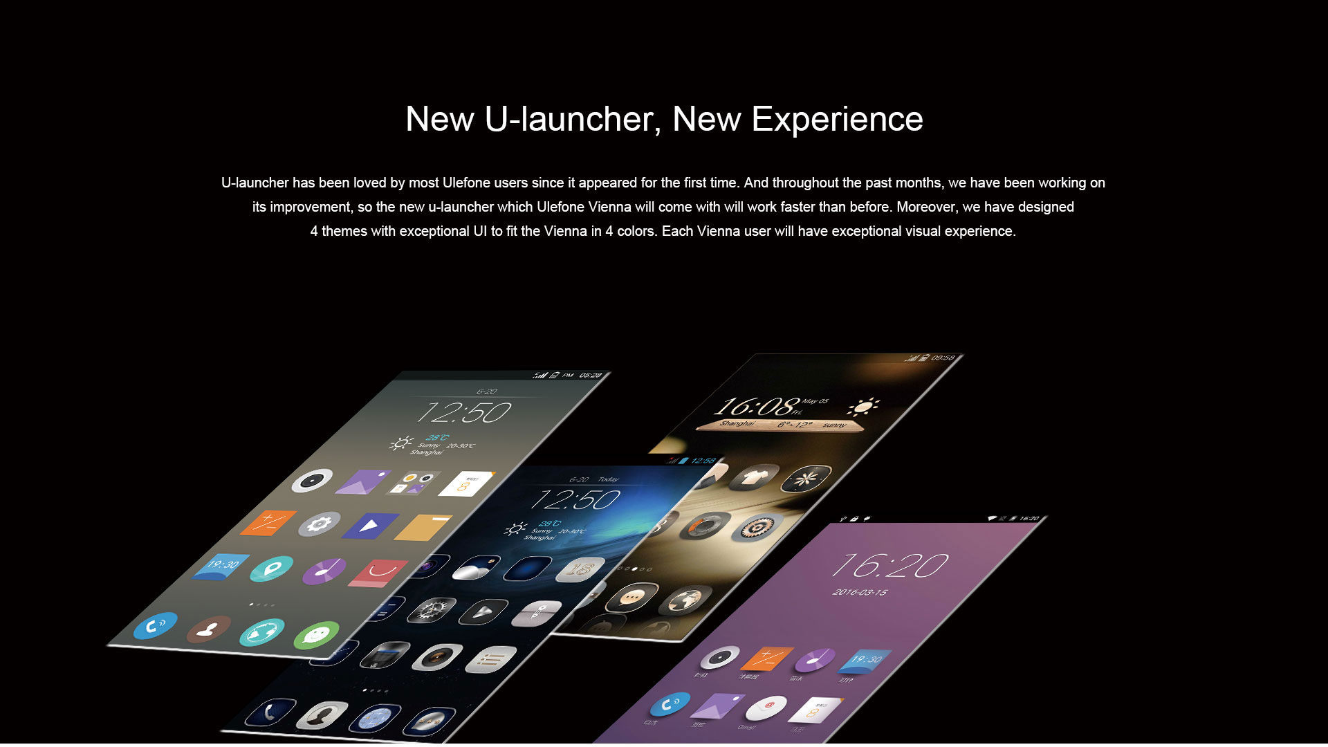 Ulefone Vienna displaying 4 different themes of the U-launcher.