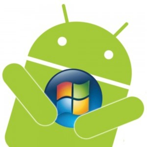 Green Android hugging Windows logo, white background.