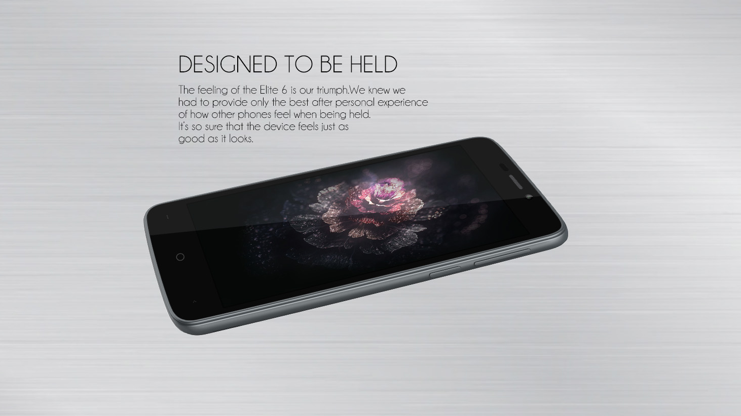 Leagoo Elite 6 Promo picture, black colored phone showing its design on a silver background.