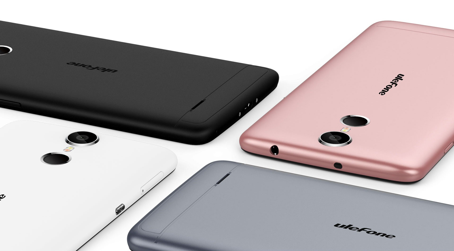 Ulefone Vienna four phones with different colors showing their back on a white background.
