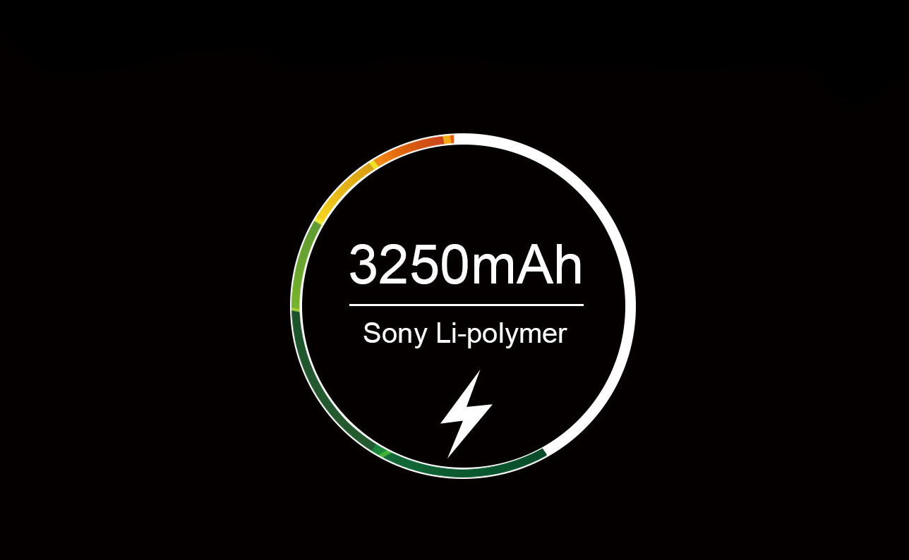 Ulefone Vienna Showing a circle with the battery capacity on a black background.