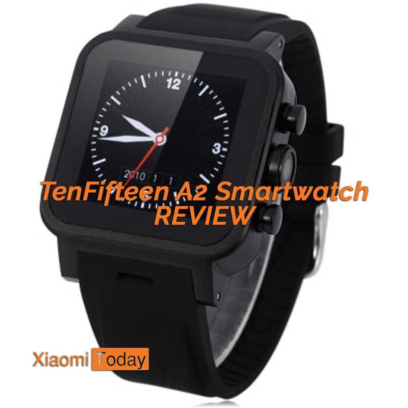 TenFifteen A2 black smartwatch on a white background.