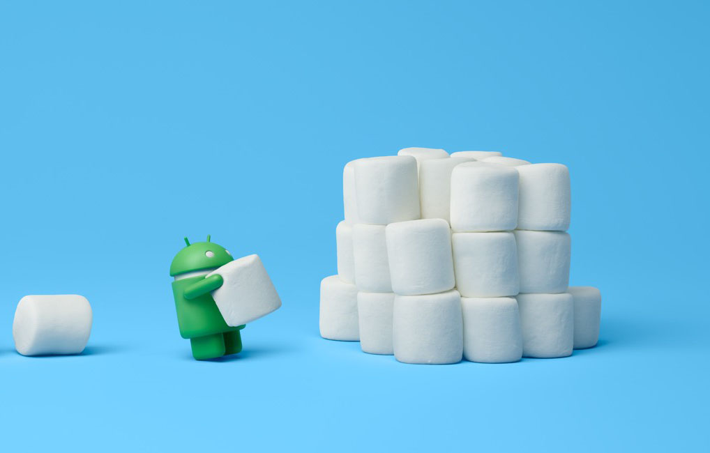 Oukitel C3; Android mascot pictured while piling the marshmallows on a pile; light blue background.