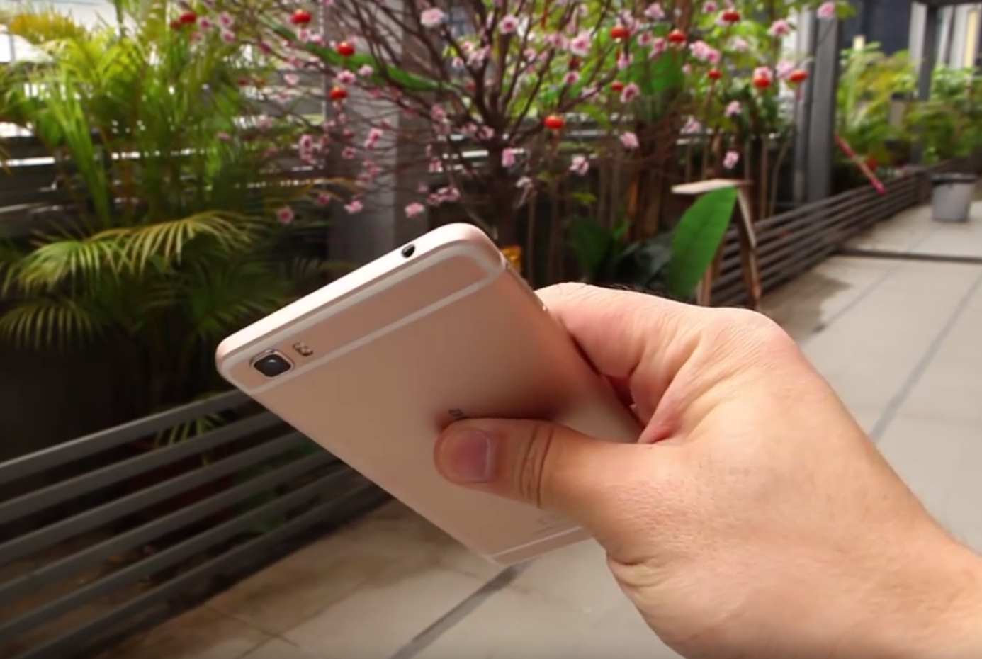 Ulefone Future held in hand, showing back and top of the phone, flowers in the background