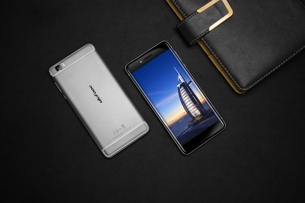 Ulefone Future promotional picture, two phones lying on a black desk.