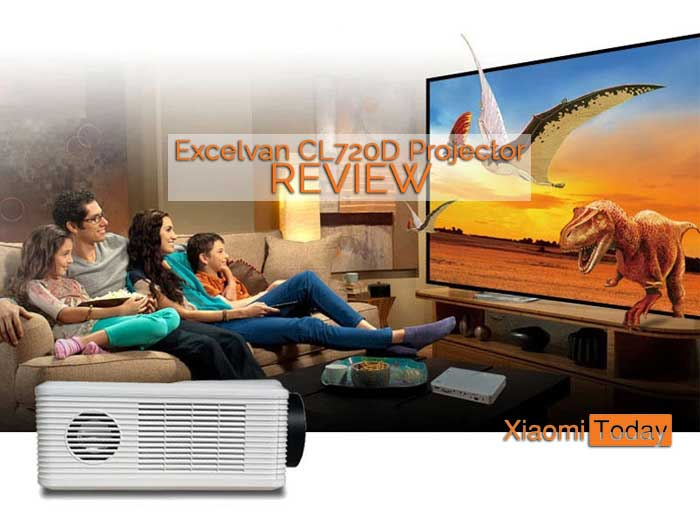 Excelvan Cl720D promotional image picturing a family enjoying the movie with dinosaurs.