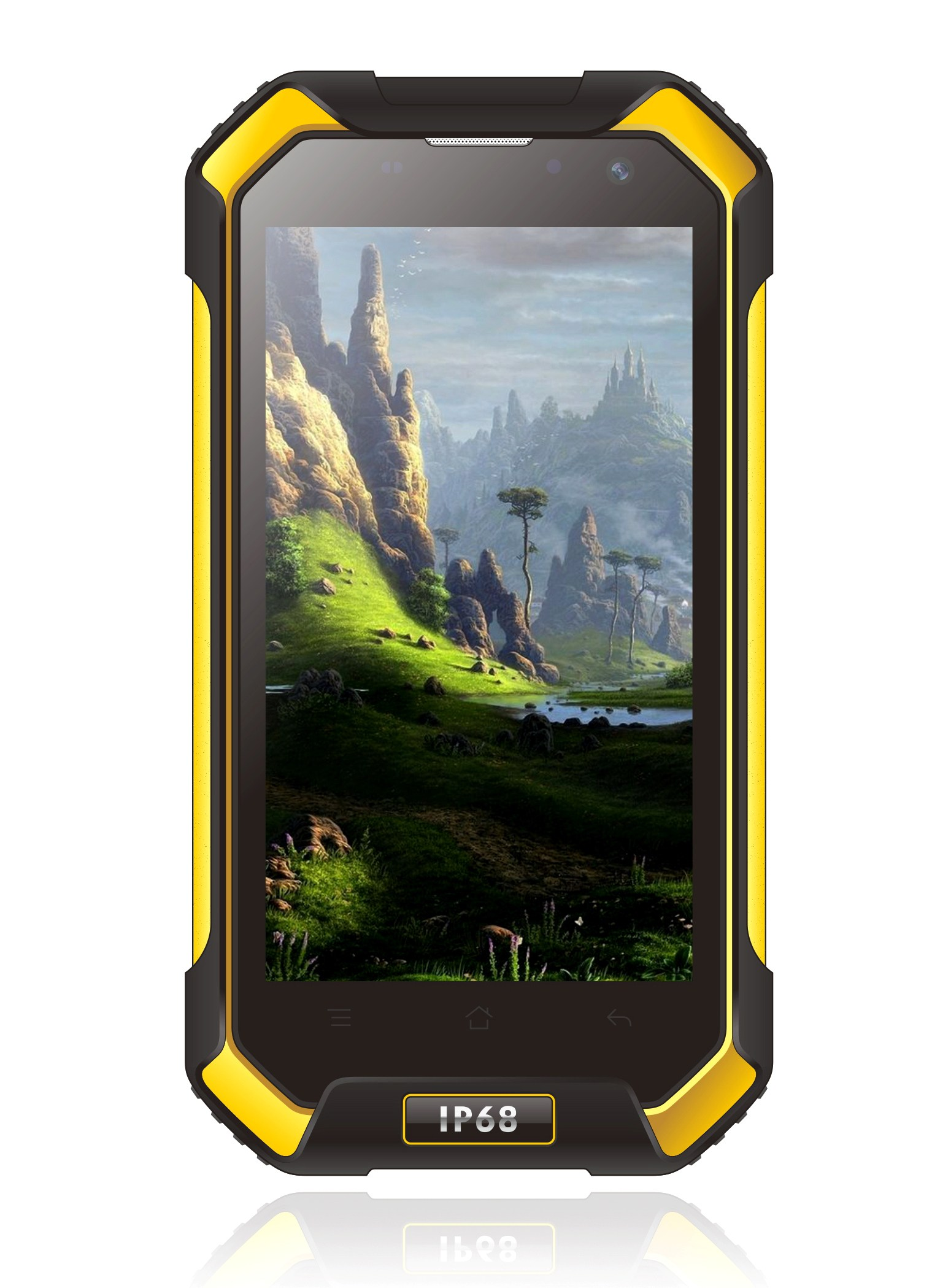 Blackview BV6000 promo picture, yellow and black phone on a white background with the display turned on