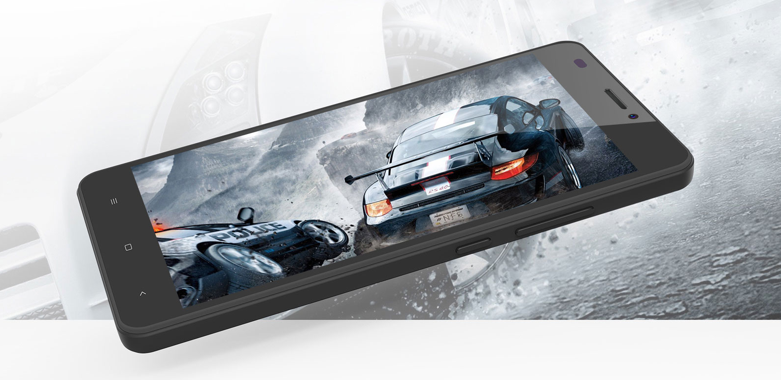 Oukitel C3 promotional picture showing a car game that is being played on the device; white background.