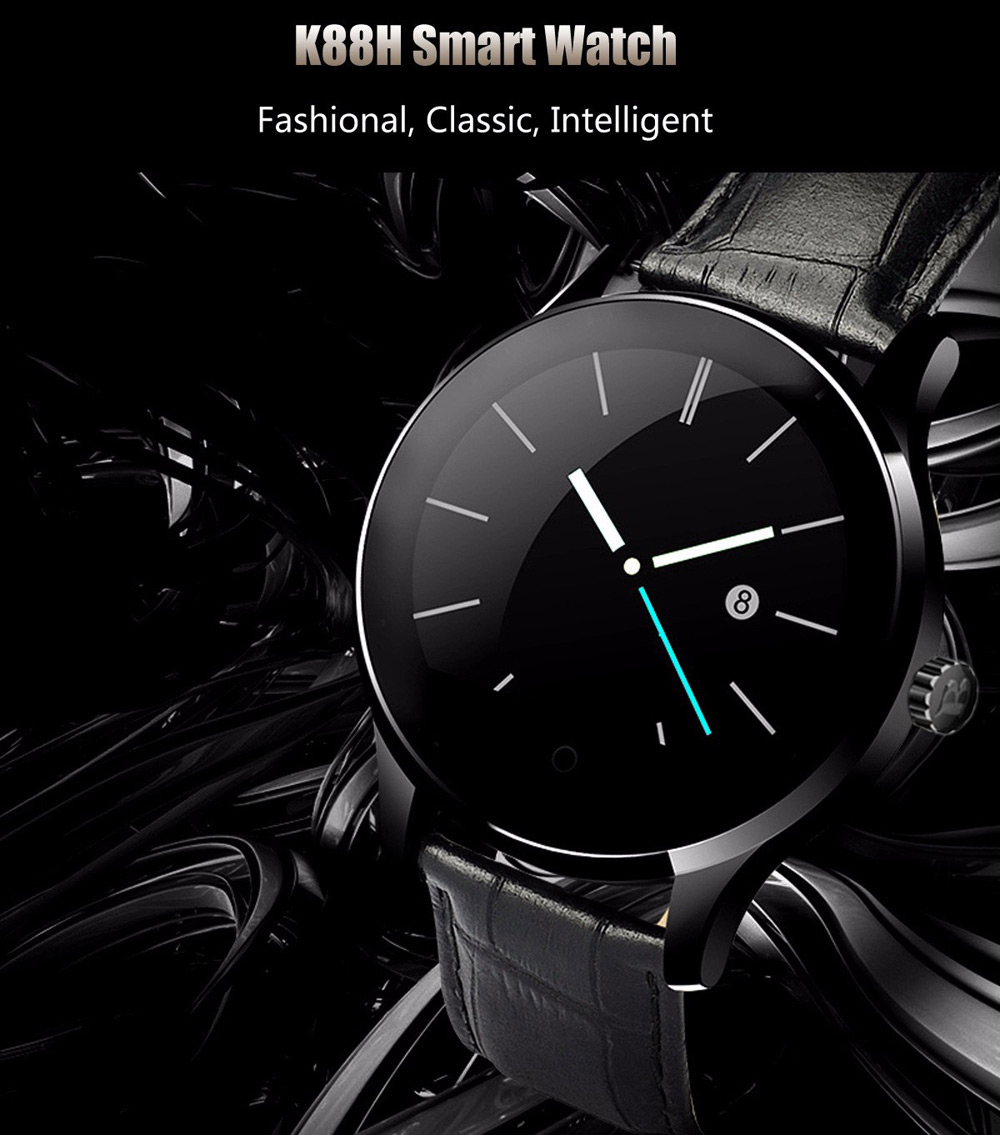 K88H smartwatch promotional picture displaying black watch and dark background.