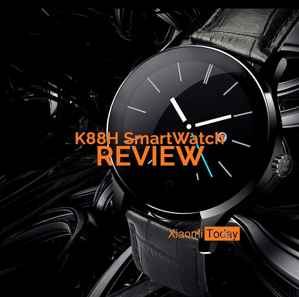 K88H Smartwatch promotional picture showing the black watch on a black background.