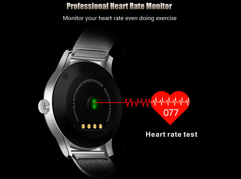 K88H Smartwatch; promotional picture showing a heart rate monitor function; black color in the background.