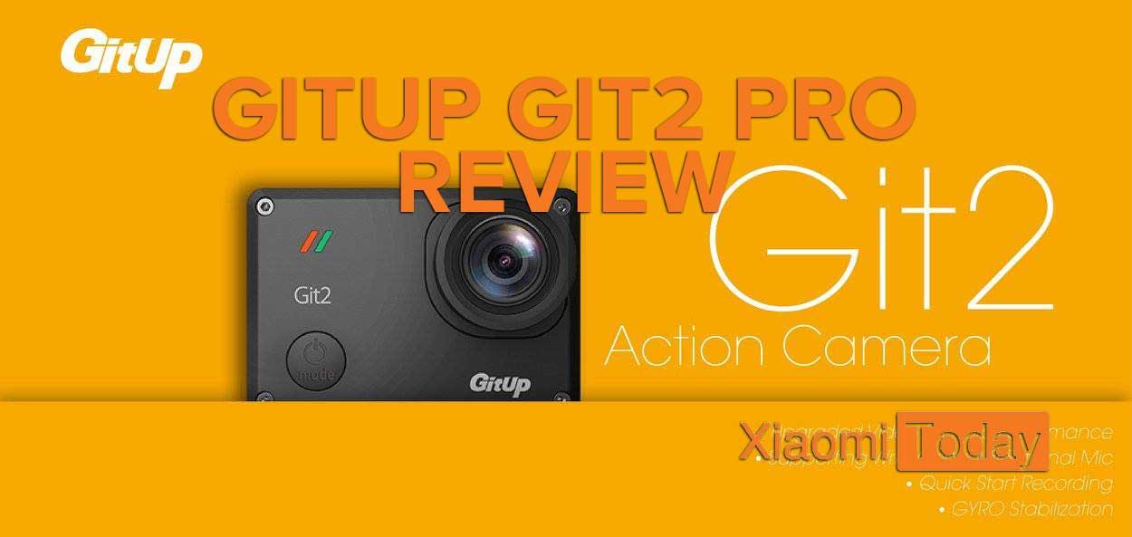 GitUp Git2 Pro Action Camera promo image, black camera on a orange background