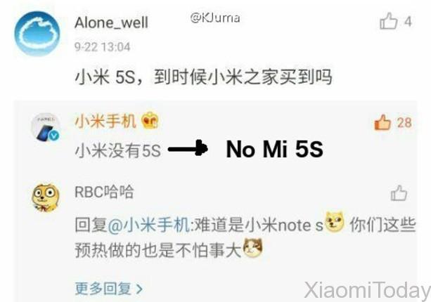 No Xiaomi Mi 5s