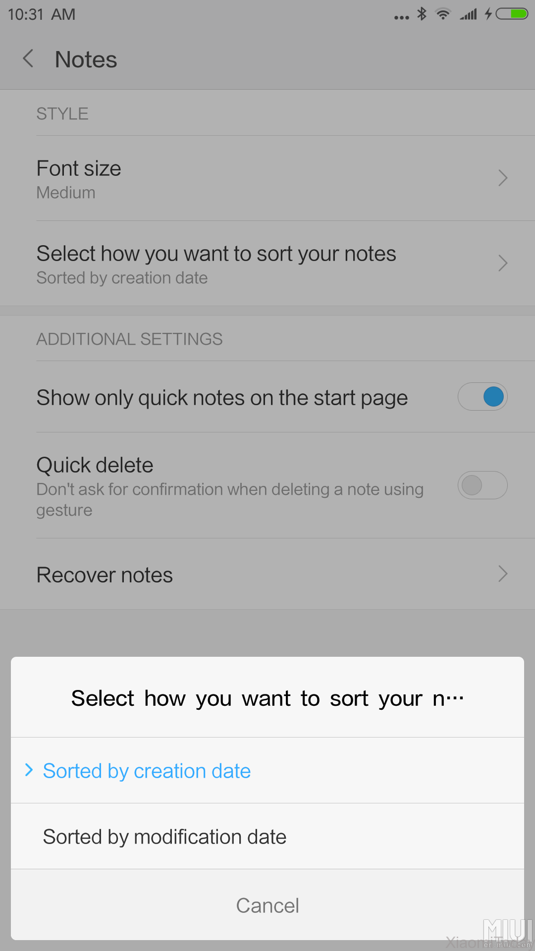 MIUI 8 China Developer ROM 6.10.27 Changelog Preview New Notes Setting Parameters