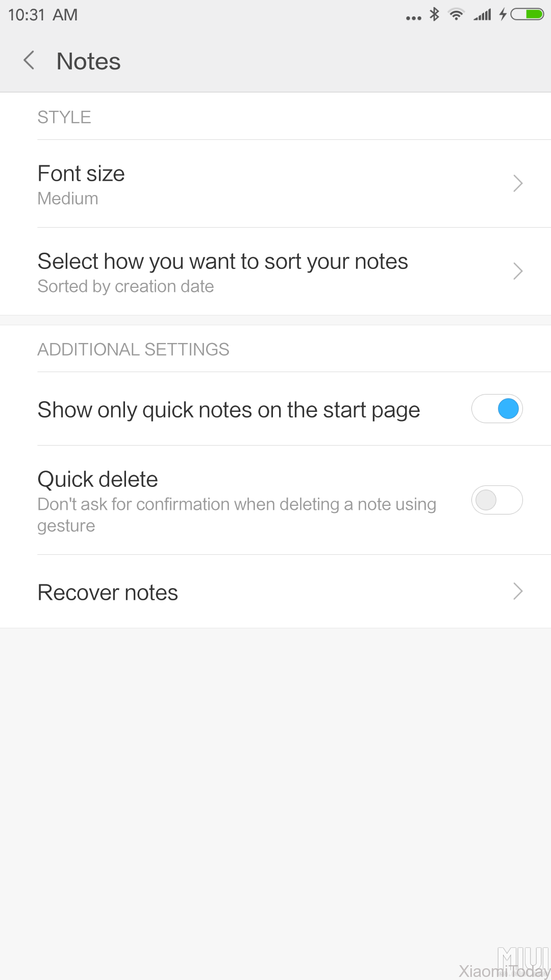 MIUI 8 China Developer ROM 6.10.27 Changelog Preview New Notes Settings