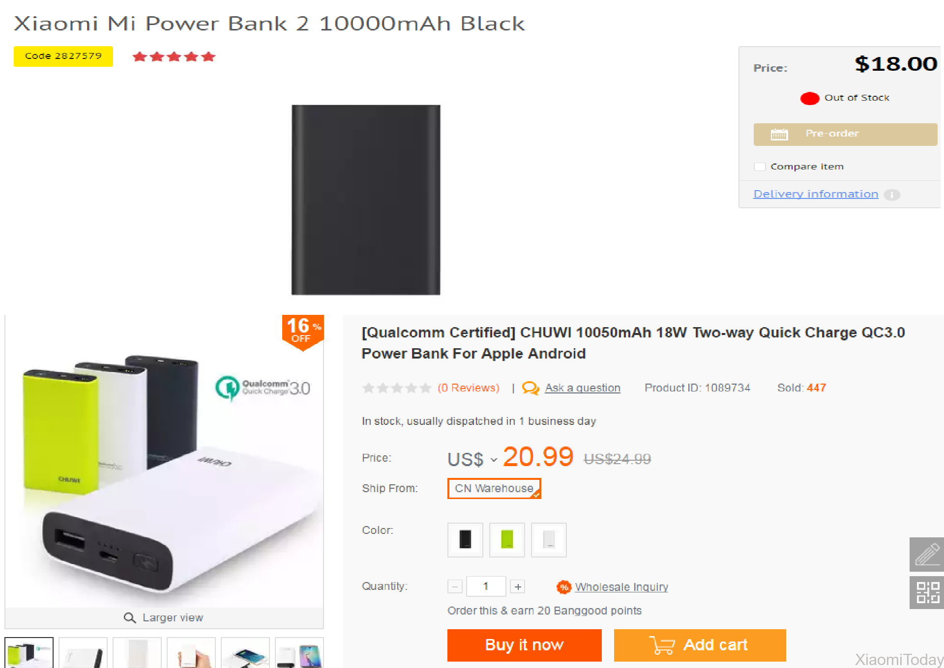 Xiaomi Mi Powerbank 2 10000mah vs Chuwi Hi-Power 10050mah Powerbank Price