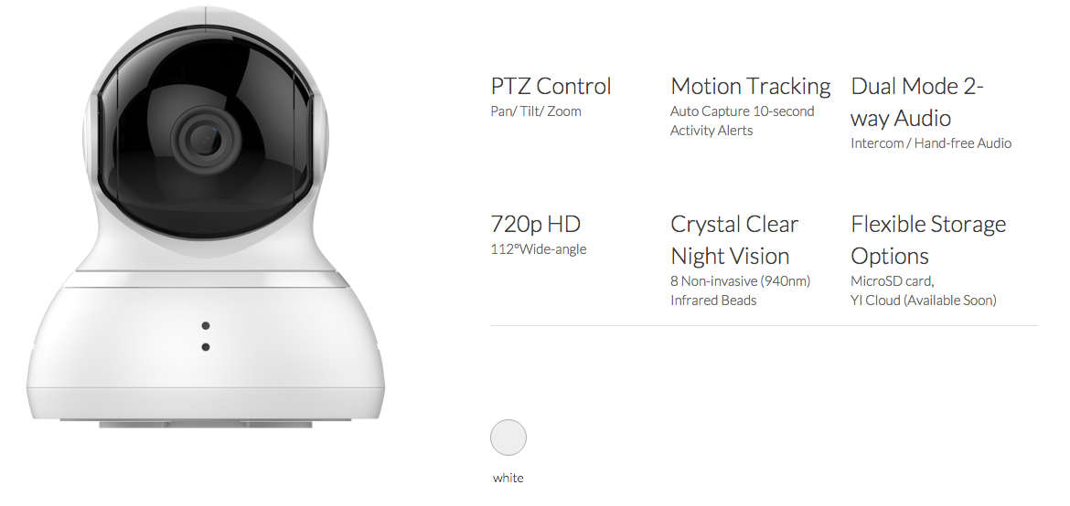 Xiaomi Yi Dome Camera Hardware Specifications