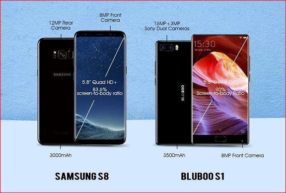 Comparison: Bezel-less BLUBOO S1 Vs the Bezel-less Samsung S8 ($150