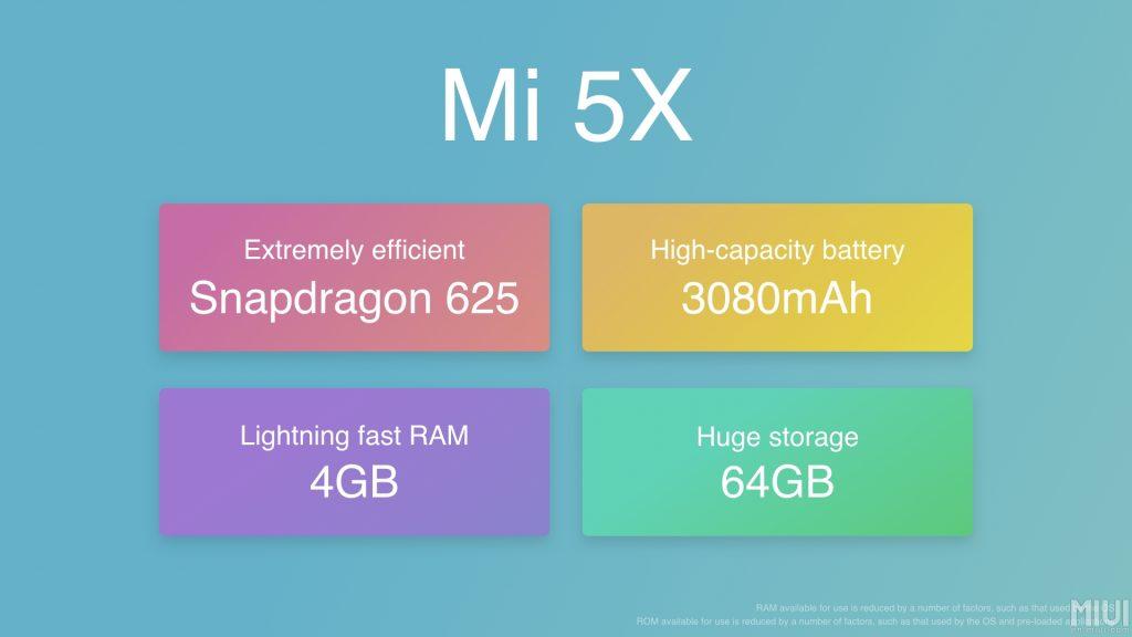 Xiaomi Mi5X Specs