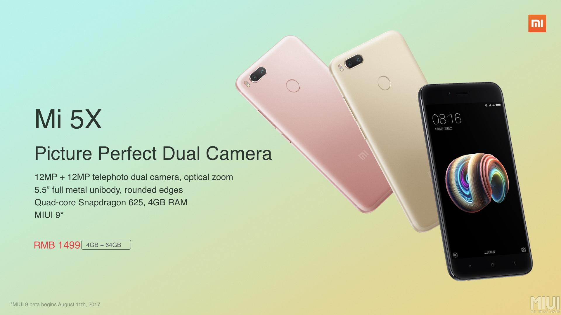 Xiaomi Mi 5X release