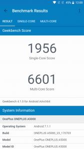 oneplus 5 geekbench score