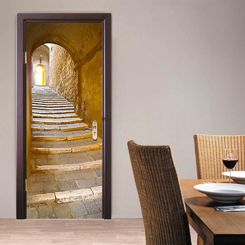 DM016 3D European stone step door sticker