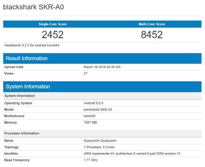 Xiaomi Blackshark on Geekbench