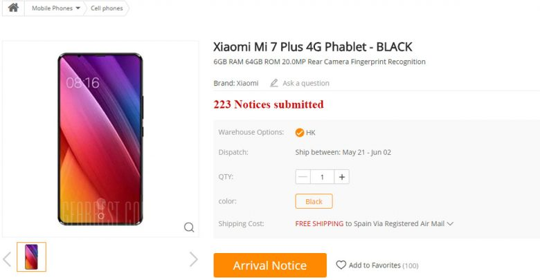 The Xiaomi Mi 7 Plus is listed in Gearbest
