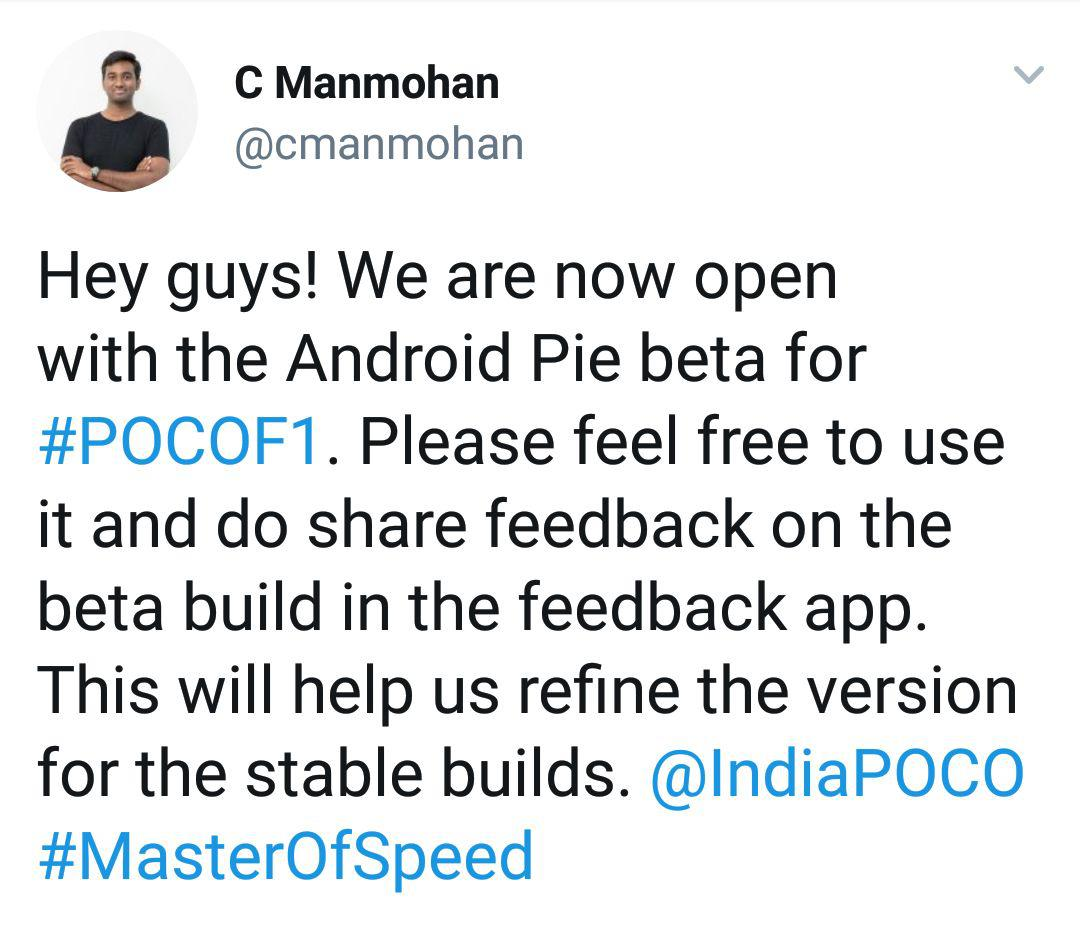 Poco F1 Android Pie Beta MIUI10 Update Is Available For Downalod
