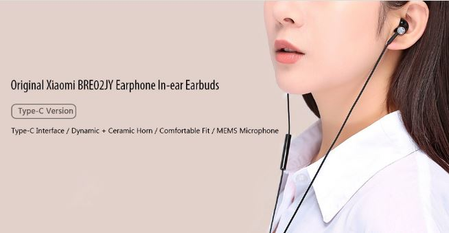 899aa7db30a Xiaomi BRE02JY Type-C Dynamic Earphone In-ear Earbuds Offered For $18.99