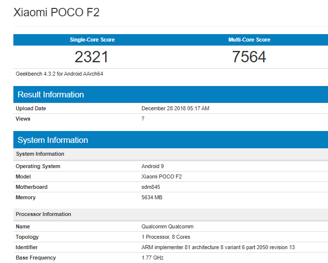 Xiaomi Poco F2 - Geekbench