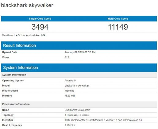Scores obtained by the Xiaomi BlackShark Skywalker
