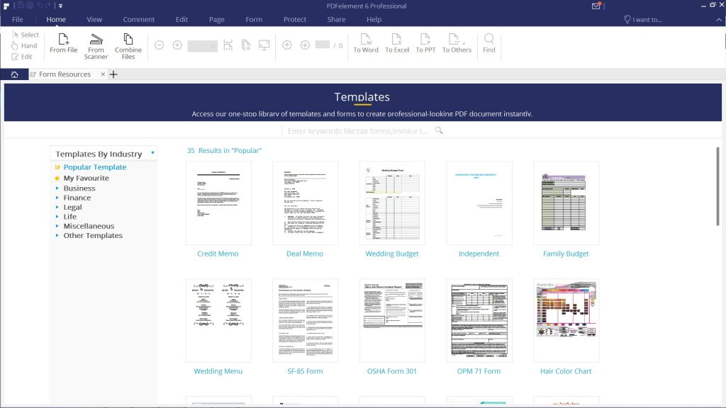 PDFelement Review - Templates