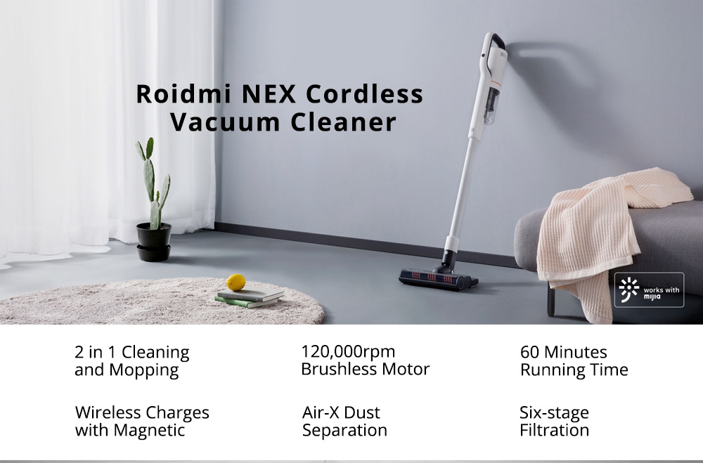 buy xiaomi roidmi nex handheld cordless vacuum cleaner for just coupon deal xiaomitoday. Black Bedroom Furniture Sets. Home Design Ideas