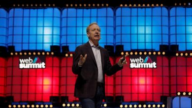 Microsoft's President Brad Smith speaks at the Web Summit, in Lisbon