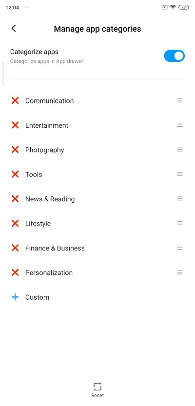 MIUI APP LIST_Sections