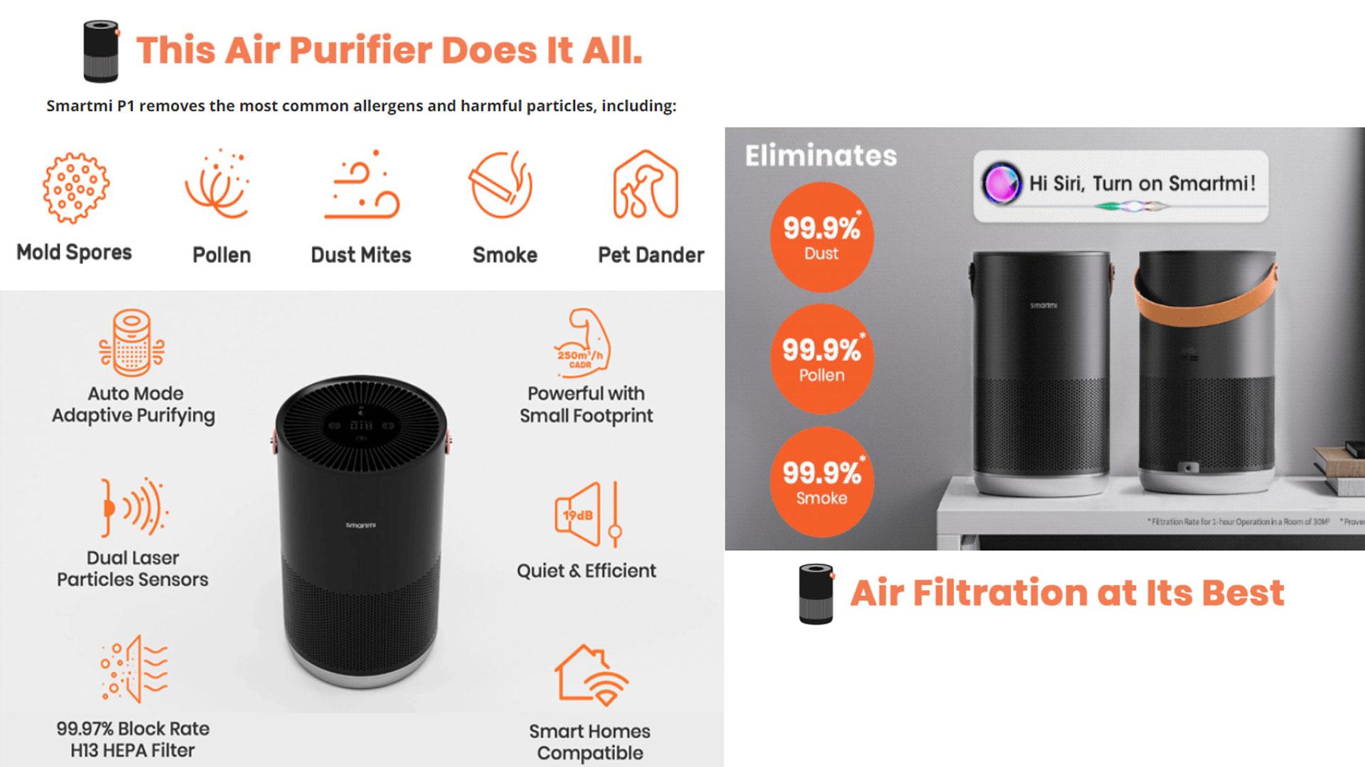 Purificador de aire Smartmi Purificador de aire P1 mejor purificador de aire purificador de aire hepa purificador de aire doméstico